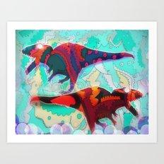 Dinosaur Collaboration Art Print