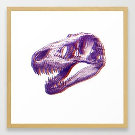 Trex dino ink drawing (psychedelic 3D effect) Framed Art Print