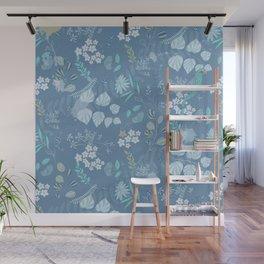 Glacier Colors//Blue Flowers//Leaves, Bird Wall Mural