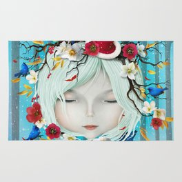 head of girl and flowers Rug