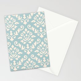 Damask Baroque Pattern Cream on Blue Stationery Cards