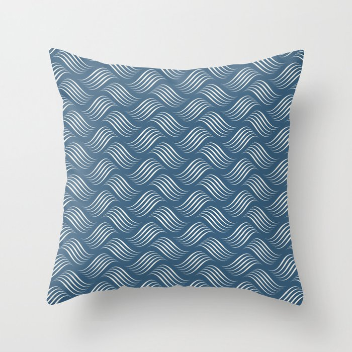 Off White Wavy Tessellation Line Pattern on Dark Blue - 2020 Color of the Year Chinese Porcelain Throw Pillow