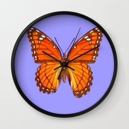 LILAC PURPLE MONARCH BUTTERFLY PATTERN Wall Clock
