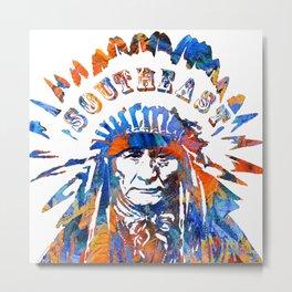 Southeast Native American Logo Design by Sharon Cummings Metal Print