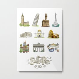Europe with significant buildings Metal Print