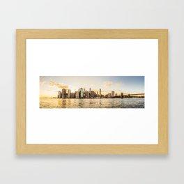 New York skyline at sunset Framed Art Print