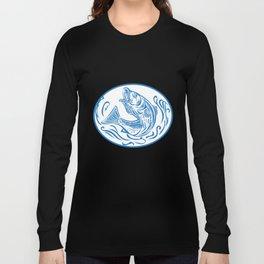 Rockfish Jumping Up Oval Drawing Long Sleeve T-shirt
