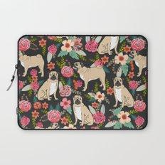 Pugs of spring floral pug dog cute pattern print florals flower garden nature dog park dog person  Laptop Sleeve