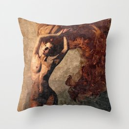 Flames of passion - sexy nude redhead girl Throw Pillow