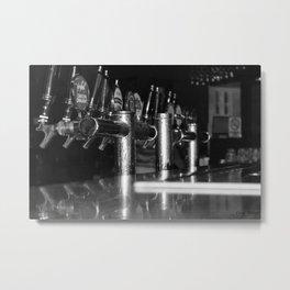 Australian Beer Taps Black and White Metal Print