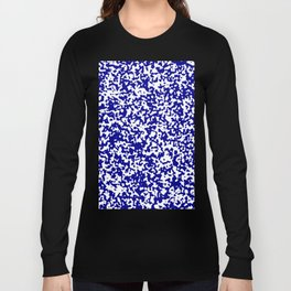 Small Spots - White and Dark Blue Long Sleeve T-shirt