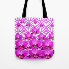 PURPLE ART DECO PATTERN ORCHIDS PATTERN ABSTRACT Tote Bag