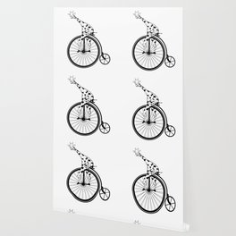 Giraffe Riding A Penny-Farthing Bicycle Wallpaper