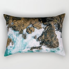 Ocean Waves Crushing On Rocky Landscape, Drone Photography, Aerial Landscape Photo, Ocean Wall Art Rectangular Pillow