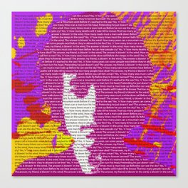 Bob Dylan wins 2016 Nobel Prize in Literature for his songwriting Canvas Print