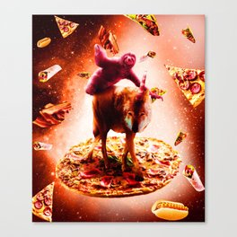 Outer Space Sloth Riding Wolf Unicorn Canvas Print
