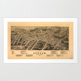 Vintage Pictorial Map of Durham NC (1891) Art Print