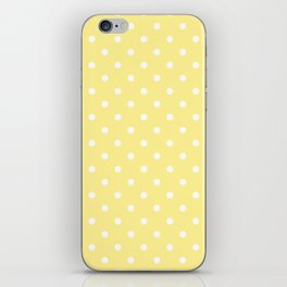 Buttermilk Yellow with White Polka Dots iPhone Skin