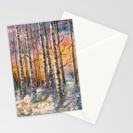 Winter Sunset Landscape Impressionistic Painting With Palette Knife Stationery Cards