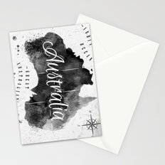 Black Australia Map Stationery Cards