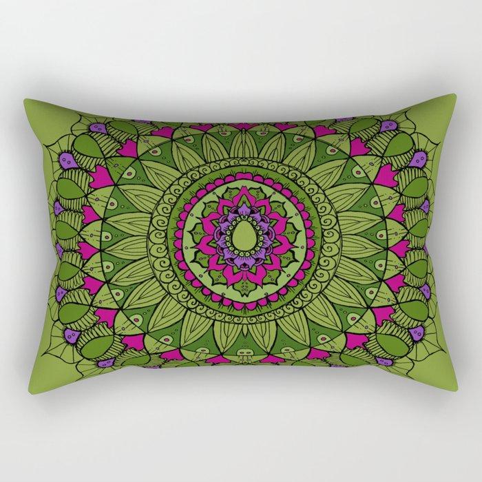 Bohemian Mandala in Green with Pink and Purple Rectangular Pillow