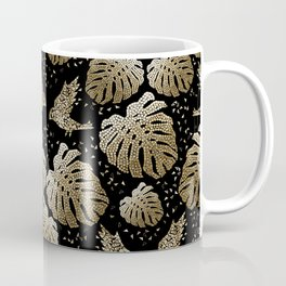 Tropical mosaic design with monstera leaves and birds in gold Coffee Mug
