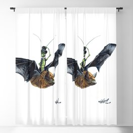 """"""" Rider in the Night """" happy cricket rides his pet bat Blackout Curtain"""