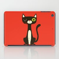 black cat iPad Cases featuring Black Cat by Monster Riot