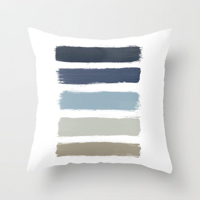 Blue Taupe Stripes Throw Pillow