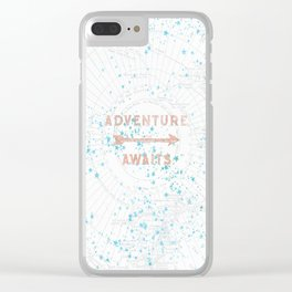 Adventure Awaits Rose Gold Clear iPhone Case