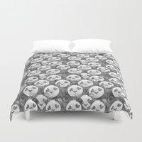 pandas Duvet Covers featuring Love Pandas by Katrina Ward