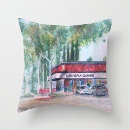 Long Beach Creamery Throw Pillow