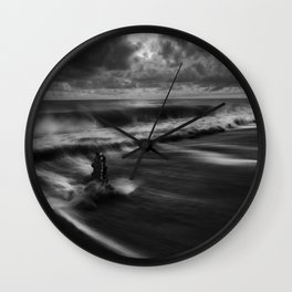 A Raging Sea Against the Shoreline black and white photograph / art photography Wall Clock