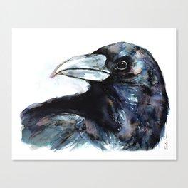 Raven, Watercolor Canvas Print