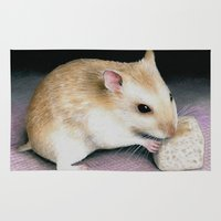 hamster Area & Throw Rugs featuring Cute Hamster by ArtbyLucie