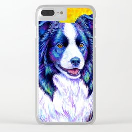 Colorful Border Collie Dog Clear iPhone Case