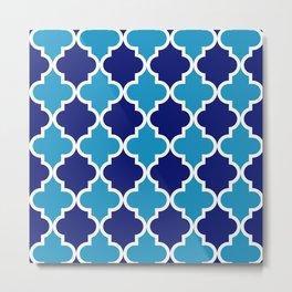 Quatrefoil - blue dual tone Metal Print