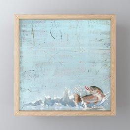rainbow trout on a hook Framed Mini Art Print