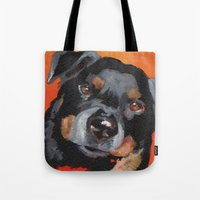 rottweiler Tote Bags featuring Rottweiler by Stanley Arts