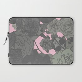 Muted Contemporary Abstract Gray Roses Over Pink Background Laptop Sleeve