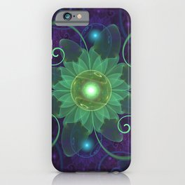 Glowing Blue-Green Fractal Lotus Lily Pad Pond iPhone Case