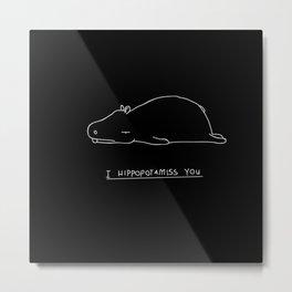 Minimalism  Art Minimalistic Hippo Hippopotamus Metal Print