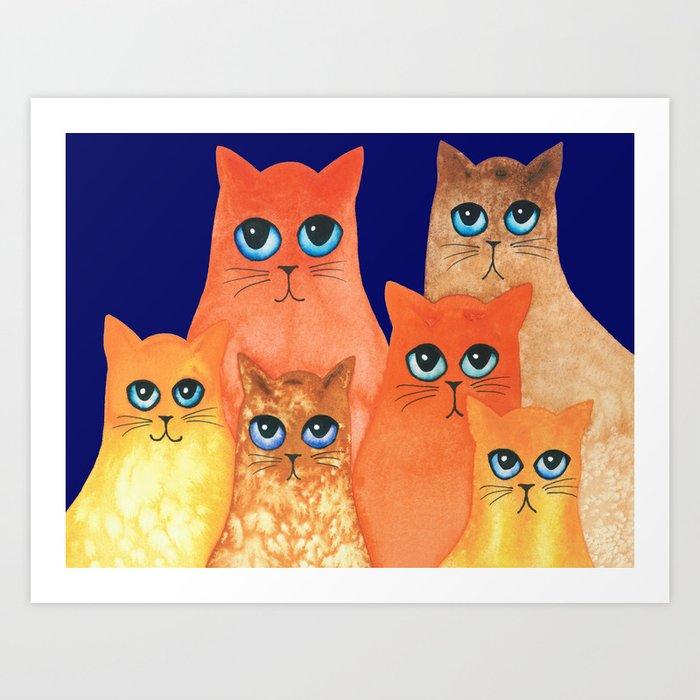 Annapolis Whimsical Cats Art Print