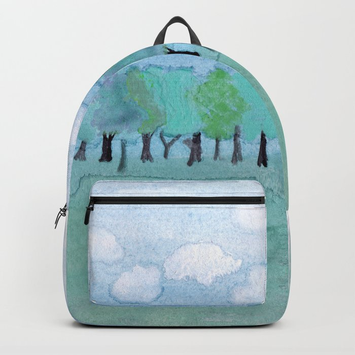 trees under a cloudy sky Backpack