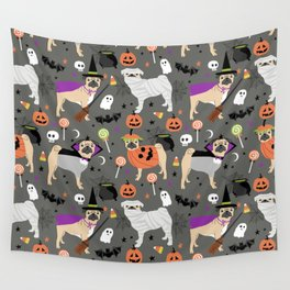 Pug halloween costumes mummy witch vampire pug dog breed pattern by pet friendly Wall Tapestry