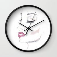 moulin rouge Wall Clocks featuring Rouge by Stephany Moreno