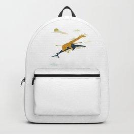 Giraffe riding shark Backpack