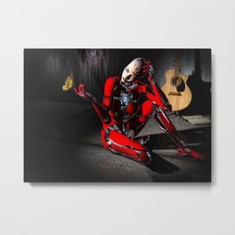 The Butterfly and The Robot Metal Print