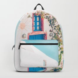 Santorini Greece Blue Door Cozy Photography Backpack