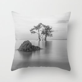 long exposure black and white tree Throw Pillow